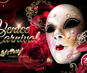 Venice carnival music party poster vector design 03