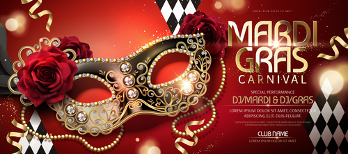 Venice carnival music party poster vector design 04