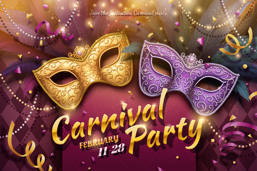 Venice carnival music party poster vector design 05