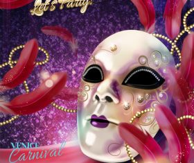 Venice carnival music party poster vector design 06