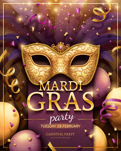 Venice carnival music party poster vector design 07