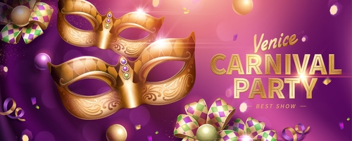 Venice carnival music party poster vector design 08