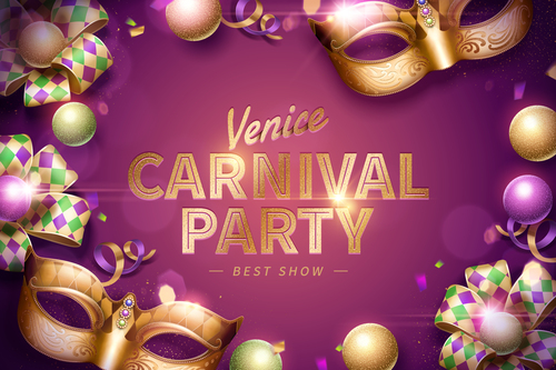 Venice carnival music party poster vector design 09