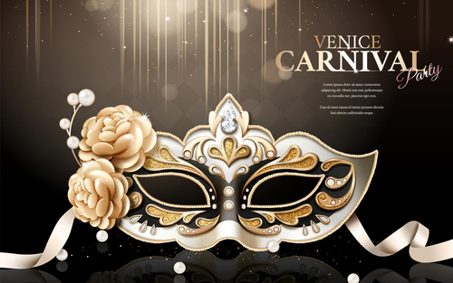 Venice carnival party poster template vectors 01