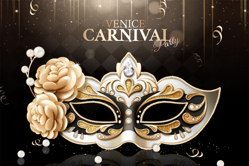 Venice carnival party poster template vectors 02