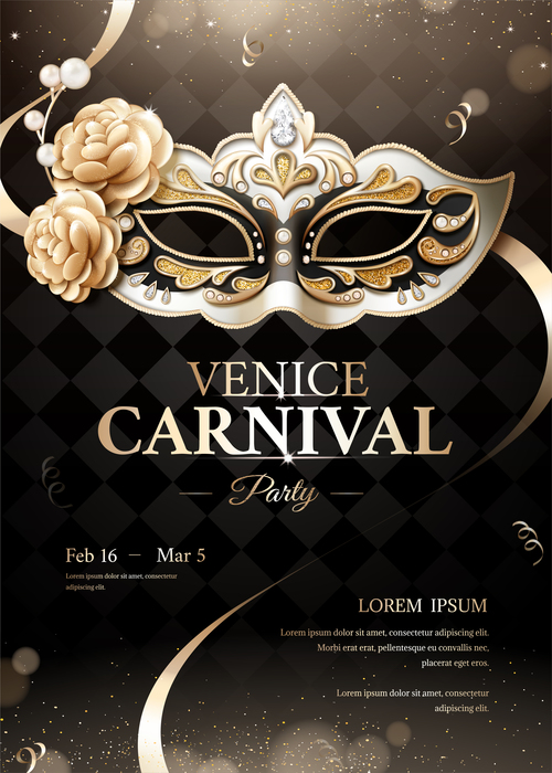 Venice carnival party poster template vectors 03