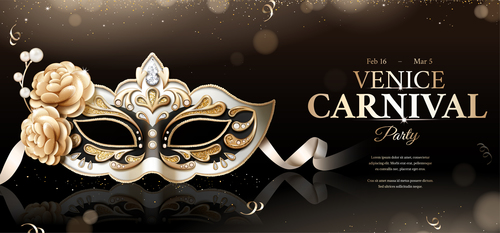 Venice carnival party poster template vectors 04
