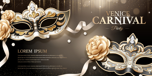 Venice carnival party poster template vectors 05