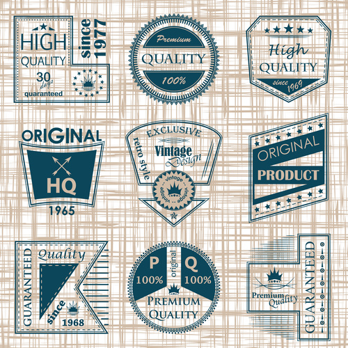 Vintage commodity label vector set 01