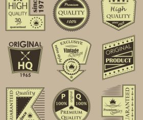 Vintage commodity label vector set 03