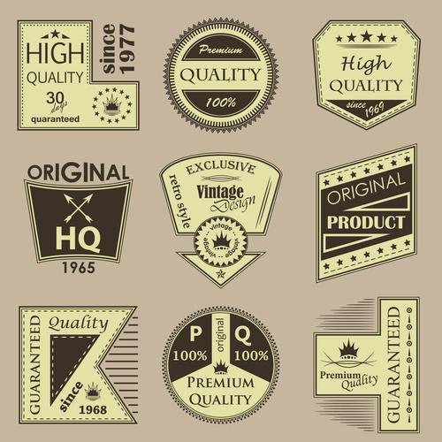 Vintage commodity label vector set 03