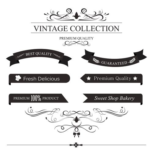 Vintage label with ribbon and ornament vector
