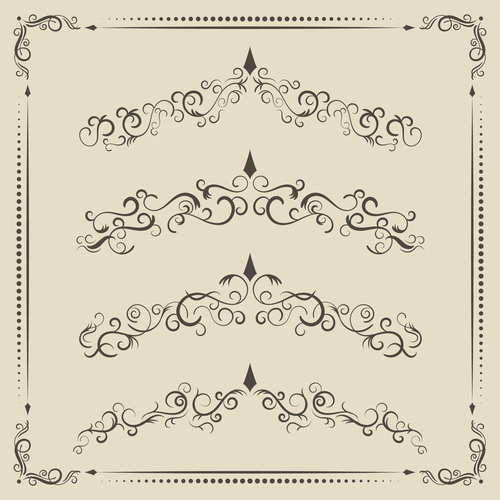 Vintage ornament with decor frame vector