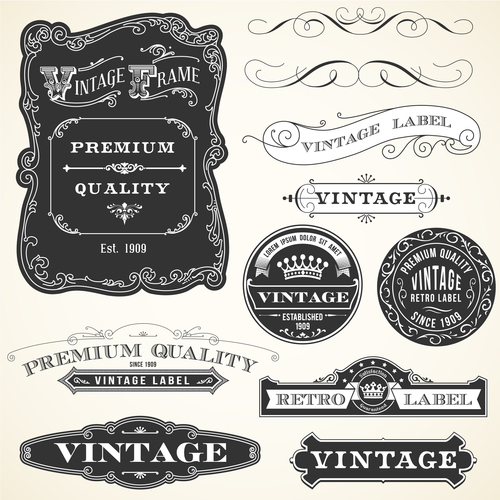 Vintage ornament with labels and badge vector