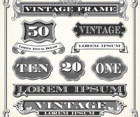 Vintage ribbon banner with frame design vector