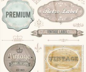 Vintage sticker labels vector material