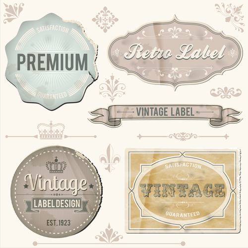 Vintage sticker labels vector material