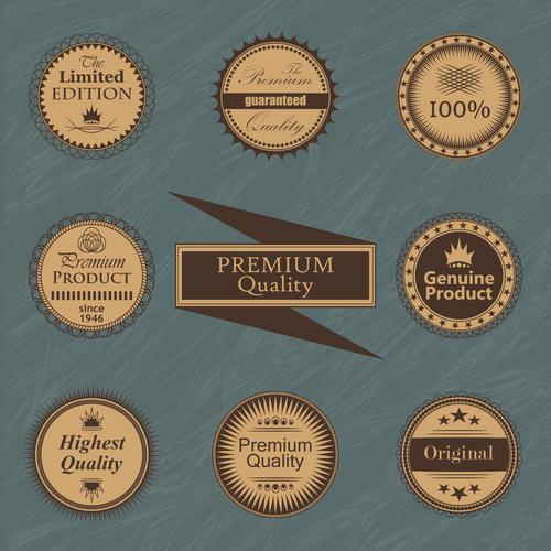 Vintage styles badge design vectors 03