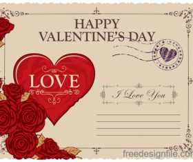 Vintage valentines day postcard template vector 01