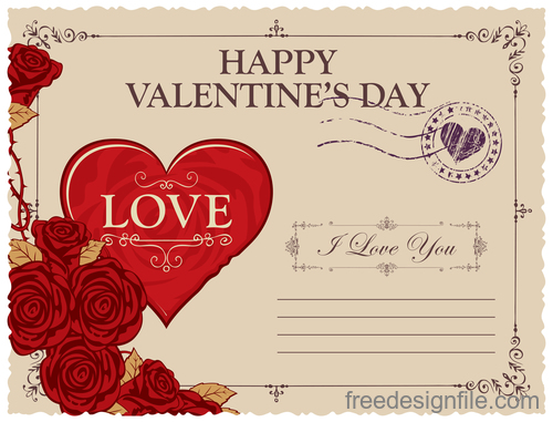 Vintage valentines day postcard template vector 01
