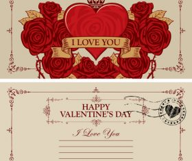 Vintage valentines day postcard template vector 02