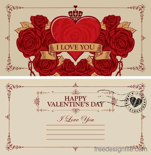 Vintage valentines day postcard template vector 02