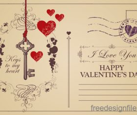 Vintage valentines day postcard template vector 03