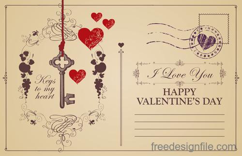 Vintage valentines day postcard template vector 03