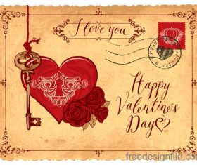 Vintage valentines day postcard template vector 04