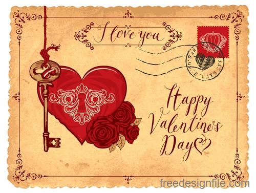 Vintage valentines day postcard template vector 04