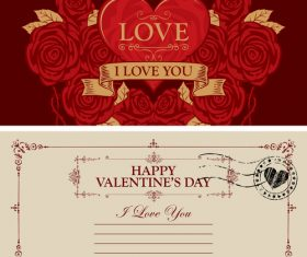 Vintage valentines day postcard template vector 05