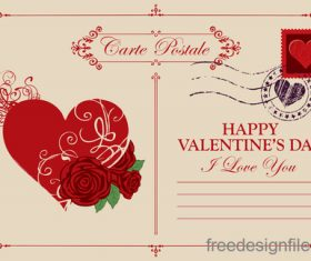 Vintage valentines day postcard template vector 06
