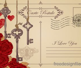 Vintage valentines day postcard template vector 07