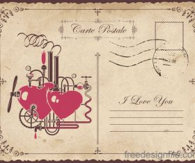 Vintage valentines day postcard template vector 08