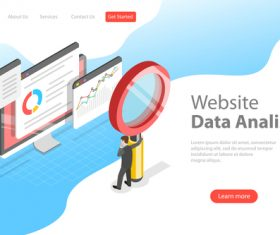 Websita data analisys business template vector