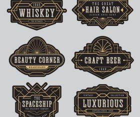 Whiskey beer line frame labels vector