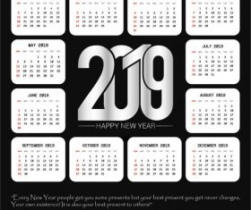 White 2019 calendar template vector material