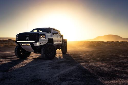 White Dodge Pickup Truck Stock Photo 09