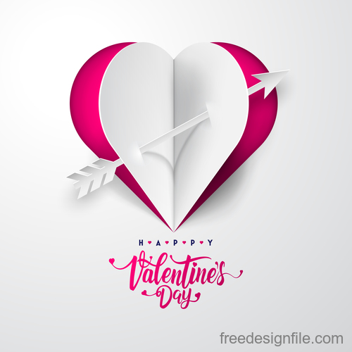 White paper Valentines day card vectors