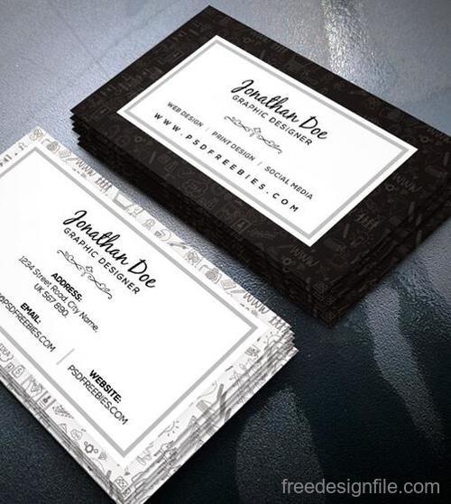 White with Black Designer Business Card PSD Template