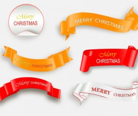 White with golden and red christmas ribbon banner with sticker vector