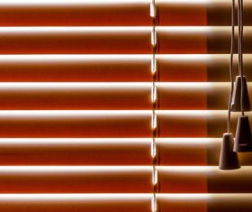 Window with sand coloured roll sun blinds Stock Photo 11