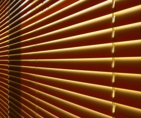 Window with sand coloured roll sun blinds Stock Photo 13