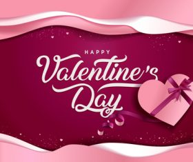 Wine red Valentines day card vector 01