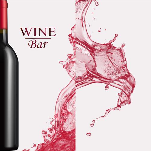 Wine splash background design vector 01