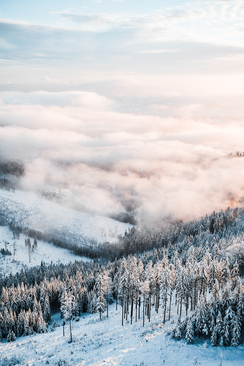 Winter Mountains Scenery Vertical Stock Photo
