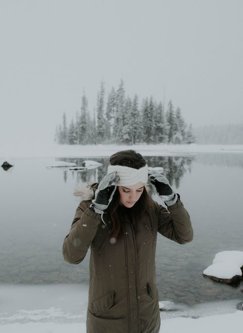 Winter lake girl Stock Photo