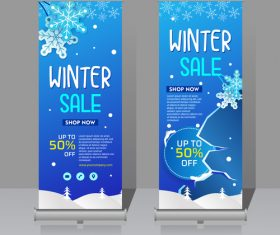 Winter roll vertical banners vector 01