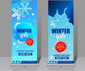 Winter roll vertical banners vector 02