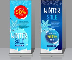 Winter roll vertical banners vector 03